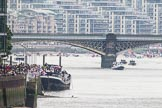 Thames Diamond Jubilee Pageant: Getting ready for the start of the pageant: The man powerd boats are assembled behind Battersea Railway Bridge.. River Thames seen from Battersea Bridge, London,  United Kingdom, on 03 June 2012 at 14:03, image #1