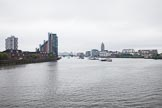 Thames Diamond Jubilee Pageant: View from Battersea Bridge upriver towards Battersea Rail Bridge, the flotilla can be seen behind the bridge through the haze and drizzle.. River Thames seen from Battersea Bridge, London,  United Kingdom, on 03 June 2012 at 14:16, image #12
