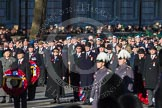 Remembrance Sunday 2012 Cenotaph March Past: Minutes before the start of  the march-mast.. Whitehall, Cenotaph, London SW1,  United Kingdom, on 11 November 2012 at 11:25, image #1