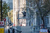 A temporary scaffolding structure set up in the middle of Whitehall for one of the BBC/SIS  cameras.