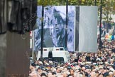 Remembrance Sunday at the Cenotaph in London 2014: The eastern end of Whitehall, with the two huge television screes for the BBC live broadcast. Press stand opposite the Foreign Office building, Whitehall, London SW1, London, Greater London, United Kingdom, on 09 November 2014 at 11:31, image #2