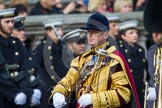 Remembrance Sunday at the Cenotaph in London 2014: Drum Major Tony Taylor, Coldstream Guards. Press stand opposite the Foreign Office building, Whitehall, London SW1, London, Greater London, United Kingdom, on 09 November 2014 at 11:31, image #3