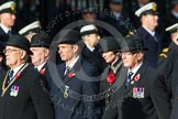 Remembrance Sunday at the Cenotaph in London 2014: Members of the Royal British Legion (?) leading the March Past. Press stand opposite the Foreign Office building, Whitehall, London SW1, London, Greater London, United Kingdom, on 09 November 2014 at 11:37, image #9