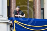 Remembrance Sunday at the Cenotaph in London 2014: Preparations for the event - the balconies are cleaned before the arrival of the official guests.. Press stand opposite the Foreign Office building, Whitehall, London SW1, London, Greater London, United Kingdom, on 09 November 2014 at 08:19, image #6