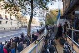 Remembrance Sunday at the Cenotaph in London 2014: The world press at the Cenotaph, opposite the Foreign- and Commonwealth Office.. Press stand opposite the Foreign Office building, Whitehall, London SW1, London, Greater London, United Kingdom, on 09 November 2014 at 08:25, image #8