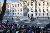 Remembrance Sunday at the Cenotaph in London 2014: 8:50am, Whitehall is already crowded.. Press stand opposite the Foreign Office building, Whitehall, London SW1, London, Greater London, United Kingdom, on 09 November 2014 at 08:50, image #12