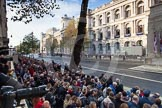 Remembrance Sunday at the Cenotaph in London 2014: 8:50am, Whitehall is already crowded.. Press stand opposite the Foreign Office building, Whitehall, London SW1, London, Greater London, United Kingdom, on 09 November 2014 at 08:57, image #13