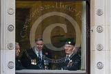Remembrance Sunday at the Cenotaph in London 2014: Veterans waiting inside the Foreign- and Commonwealth Office.. Press stand opposite the Foreign Office building, Whitehall, London SW1, London, Greater London, United Kingdom, on 09 November 2014 at 09:22, image #15