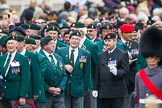 Remembrance Sunday at the Cenotaph 2015: The left of the three very long columns before the start of the March Past, here group D3, Ulster Defence Regiment. Cenotaph, Whitehall, London SW1, London, Greater London, United Kingdom, on 08 November 2015 at 11:23, image #3