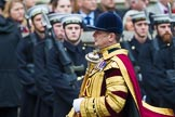 Remembrance Sunday at the Cenotaph 2015: Drum Major Tony Taylor, No. 7 Company Coldstream Guards, leading his band to a new position to make space for the March Past. Cenotaph, Whitehall, London SW1, London, Greater London, United Kingdom, on 08 November 2015 at 11:35, image #10