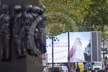 Remembrance Sunday at the Cenotaph 2015: One of the big TV screens on Whitehall, behind the Memorial for Women in World War II. Image #1, 08 November 2015 08:14 Whitehall, London, UK