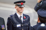 Remembrance Sunday at the Cenotaph 2015: A young City of London Police Community Support Officer, Robert Sweet, part of the Civilian Services Contingent, with his superiors. Image #3, 08 November 2015 08:50 Whitehall, London, UK
