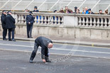 Remembrance Sunday at the Cenotaph 2015: The positions for the High Commissioners around the Cenotaph are chalked on the pavement. Image #5, 08 November 2015 08:54 Whitehall, London, UK