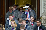 Remembrance Sunday at the Cenotaph 2015: The Queen's Scouts emerging from the Foreign- and Commonwealth Office to distribute leaflets with information about the service. Image #10, 08 November 2015 09:11 Whitehall, London, UK