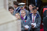 Remembrance Sunday at the Cenotaph 2015: The Queen's Scouts emerging from the Foreign- and Commonwealth Office to distribute leaflets with information about the service. Image #11, 08 November 2015 09:11 Whitehall, London, UK