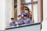 Remembrance Sunday at the Cenotaph 2015: The Army control centre for the event on one of the upper floor balconies. Image #14, 08 November 2015 09:34 Whitehall, London, UK