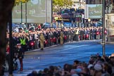 The rear end of the first column of the March Past before the Remembrance Sunday Cenotaph Ceremony 2018 at Horse Guards Parade, Westminster, London, 11 November 2018, 10:09.
