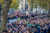 The build-up of the March Past is almost complete on Whitehall before the Remembrance Sunday Cenotaph Ceremony 2018 at Horse Guards Parade, Westminster, London, 11 November 2018, 10:41.