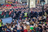 Column C of the March Past arrives on Whitehall after a long wait on Horse Guards Parade before the Remembrance Sunday Cenotaph Ceremony 2018 at Horse Guards Parade, Westminster, London, 11 November 2018, 10:42.