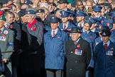 Blind Veterans UK (Group AA7, 215 members) next to the TFL group leading column M before Remembrance Sunday Cenotaph Ceremony 2018 at Horse Guards Parade, Westminster, London, 11 November 2018, 11:31.