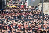 Over 9000 veterans gathering on Whitehall for the March Past during the Remembrance Sunday Cenotaph Ceremony 2018 at Horse Guards Parade, Westminster, London, 11 November 2018, 11:32.