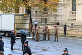 The workplace for the conductor of the Massed Bands is assembled before the Remembrance Sunday Cenotaph Ceremony 2018 at Horse Guards Parade, Westminster, London, 11 November 2018, 08:12.