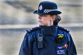 Metropolitan Police Constable Snell keeping an eye on the crowds during the Remembrance Sunday Cenotaph Ceremony 2018 at Horse Guards Parade, Westminster, London, 11 November 2018, 08:46.